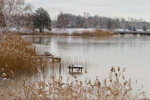 uitzicht vanaf de oever van de rivier bedekt met dun ijs in de winter foto