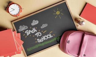 terug naar school teken getekend op een krijtbord foto