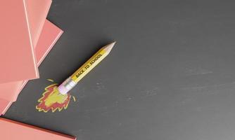 potloodraket op een schoolbord met getrokken vuur foto
