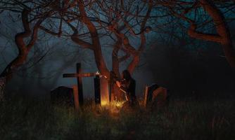 bidden op een kerkhof in een spookachtig bos foto