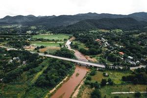 landschap rijstveld in Azië, luchtfoto van rijstvelden foto
