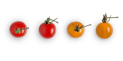 verse tomaat op witte achtergrond voor geïsoleerd met uitknippad. foto