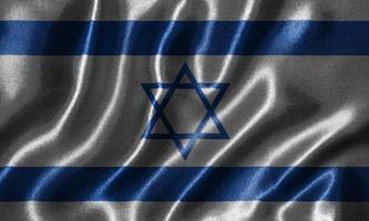 behang door israëlische vlag en wapperende vlag door stof. foto