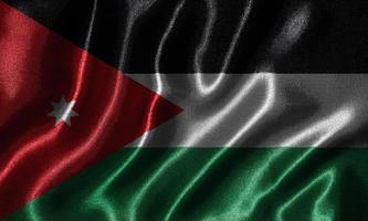 behang met de vlag van Jordanië en wapperende vlag per stof. foto