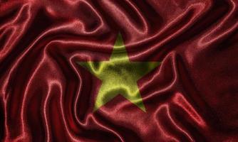 behang door vietnam vlag en wapperende vlag door stof. foto