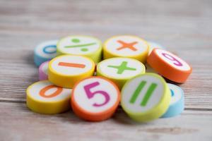 wiskundegetal kleurrijk op witte achtergrond foto