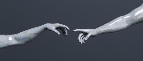 marmeren sculptuur van de schepping van adam foto