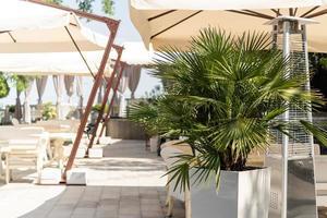 tropische straat in de stad vlakbij de zee, cafélounge en palmbomen foto