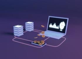 3D-cryptocurrency die modern ontwerp teruggeeft foto