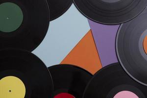 bovenaanzicht vinylplaten arrangement foto