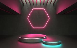 3d gloeiend neon productpodium voor showcase of promo tech product foto