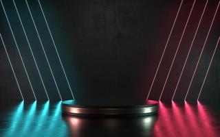 3d illustratie donker neon scene product podium of podium voor promo foto