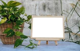 fotolijstjes geplaatst op een betonnen tafel en kleine bomen aan de zijkanten. foto