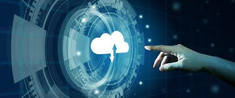 cloud computing-technologie internetopslagnetwerk. foto