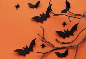 verzameling halloween-feestobjecten die een frame vormen foto