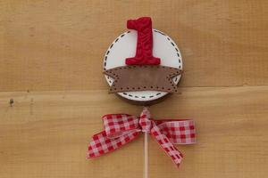 chocolade lolly's versierd voor de verjaardag van kinderen foto