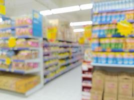 abstracte vervaging met bokeh in winkelcentrum, onscherpe supermarkt foto
