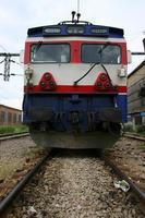 elektrische locomotief die werkt met schone energie foto