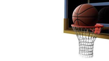 basketbal gaan in hoepel op witte geïsoleerde achtergrond foto