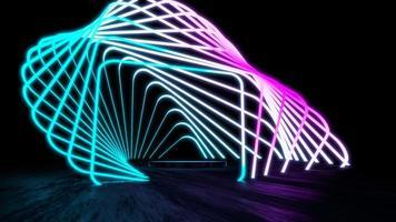 3D-rendering displaystandaard abstracte gloeiende neon foto