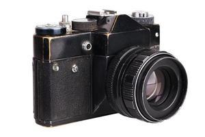 oude filmcamera in het zwart foto