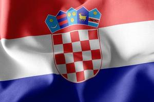 3D-rendering illustratie close-up vlag van Kroatië. foto