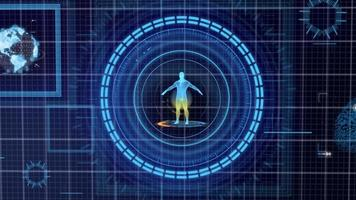 futuristische blauwe hud geneeskunde persoonlijke gegevens scherm rasterweergave foto