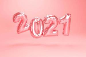 2021 gelukkig nieuwjaar. vakantie 3d feest van bollon metallic roze kleur foto