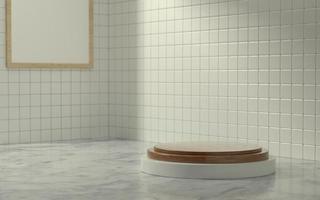 3D-productfase in badkamerscène met ochtendzonlicht foto