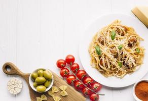 Italiaanse voedselsamenstelling met copyspace foto