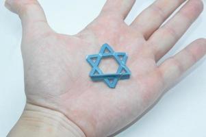 Davidster Joods symbool gemaakt van plastic foto