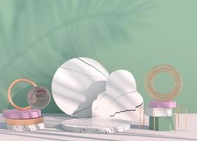 podium met palmbladeren schaduwen voor cosmetische productpresentatie. lege showcase sokkel achtergrond mock up. 3D render. foto