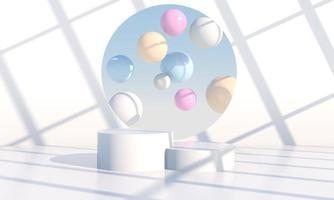minimale scène met geometrische vormen, podia in crème achtergrond met schaduwen. scène om cosmetisch product, showcase, uitstalraam, vitrine te tonen. 3d foto