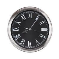 klok toont vijf minuten van de negende foto