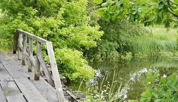 prachtig staande oude houten brug over rivier in gekleurde achtergrond foto