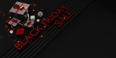 zwarte vrijdag banner winkel verkoop met geschenken en ballonnen 3d illustratie foto