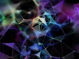 3D modern plexusontwerp met kleurrijke verbindingslijnen en punten foto