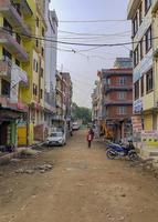 kleurrijk straatgebied in sinamangal, kathmandu, nepal foto