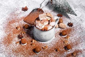 mok warme chocolademelk met witte marshmallows foto