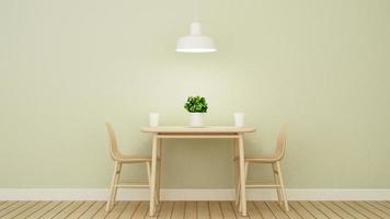 restaurant of coffeeshop op groen muurontwerp foto