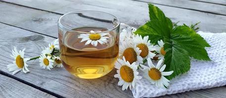 kamille aromatische thee in een glazen beker op een houten ondergrond. bloemen spandoek. zomerstilleven met wilde bloemen en geneeskrachtige kruidendrank, ontspanning en detox. foto
