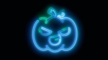 neon blauwe halloween pompoen, emoji, 3d render, foto