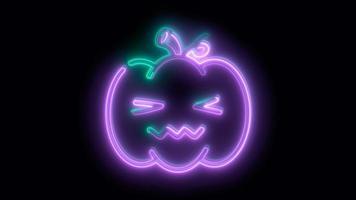 neon paarse halloween pompoen, emoji, 3d render, foto