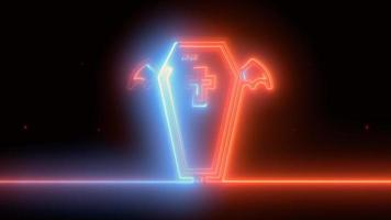 neonblauw, rode halloween-kist, emoji, 3d render, foto