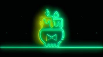 neon groene halloween kaars, emoji, 3d render, foto