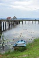 brug over het meer, natuurlijke achtergrond foto