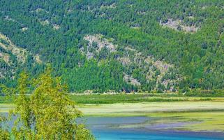 turkoois smeltwater stroomt in de rivier door het bergenlandschap van noorwegen foto
