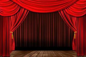 dramatisch rood ouderwets elegant theaterpodium foto