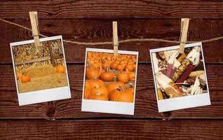 foto's van herfstgerelateerde afbeeldingen die aan een touw hangen foto