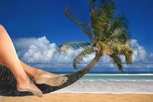 totale ontspanning op het strand foto